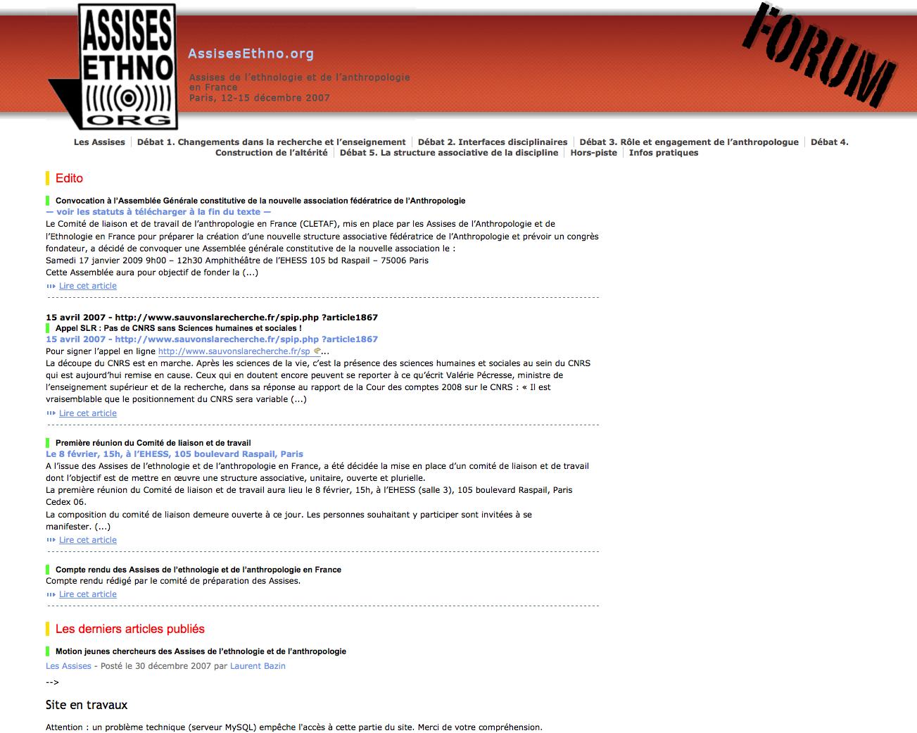 Photo d'écran du site des Assises.